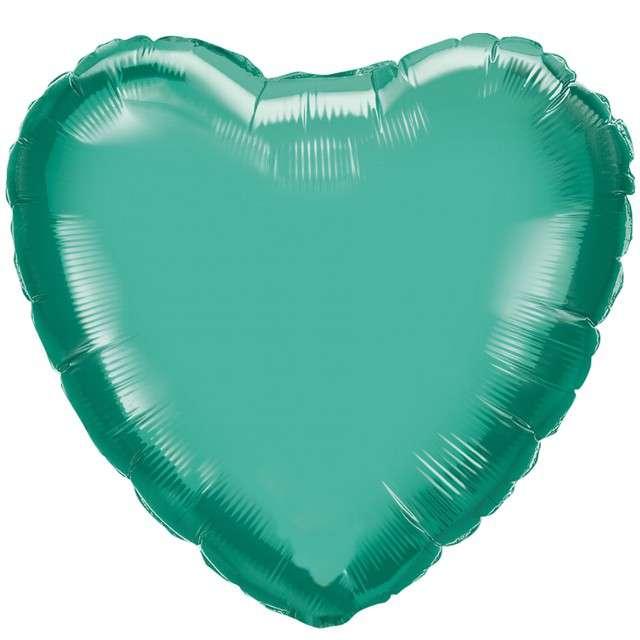 """Balon foliowy """"Serce"""", zielony chrom, QUALATEX, 18"""" HRT"""