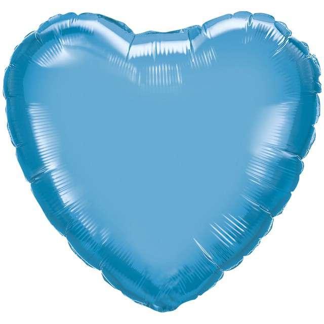 "Balon foliowy ""Serce"", niebieski chrom, QUALATEX, 18"" HRT"