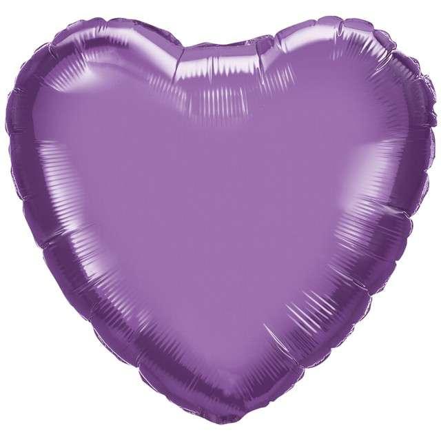 """Balon foliowy """"Serce"""", fioletowy chrom, QUALATEX, 18"""" HRT"""