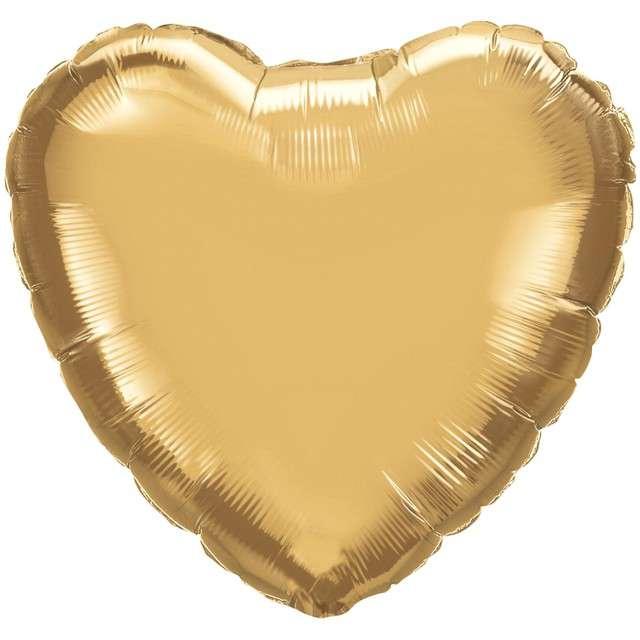 """Balon foliowy """"Serce"""", złoty chrom, QUALATEX, 18"""" HRT"""