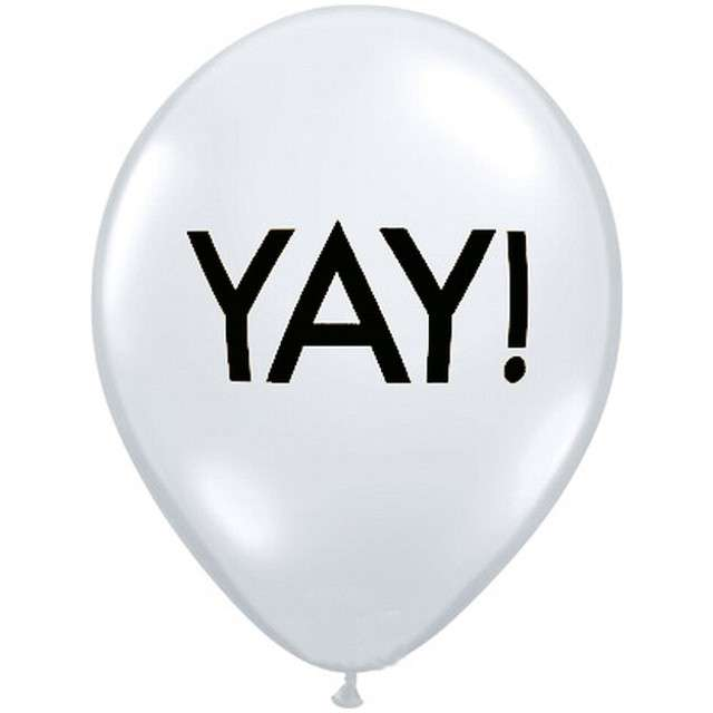 """Balony """"YAY! czarne"""", białe pastel, Qualatex, 11"""", 25 szt"""