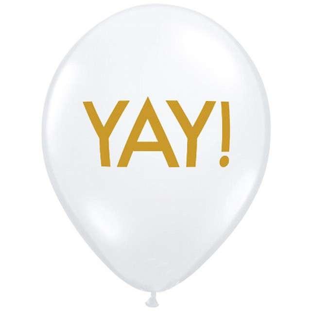 """Balony """"YAY! złote"""", białe pastel, Qualatex, 11"""", 25 szt"""