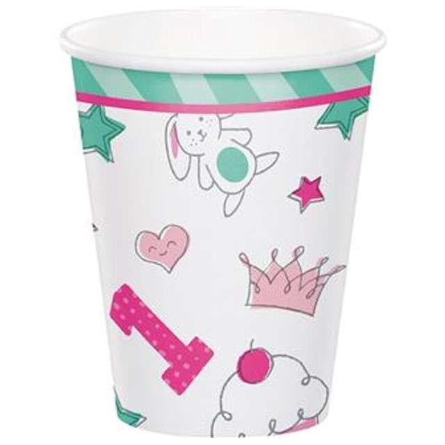 """Kubeczki papierowe """"Roczek - Doodle"""", różowe, Godan, 270 ml, 8 szt"""