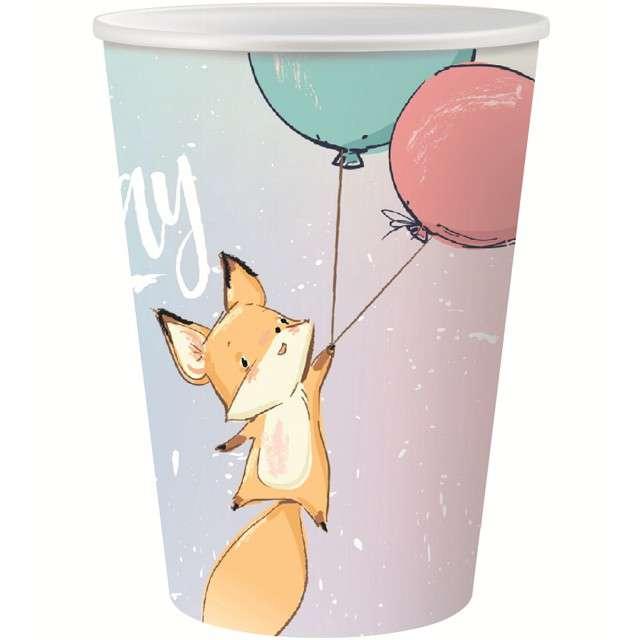 "Kubeczki papierowe ""Happy Birthday Pastel - Lisek"", Godan, 6 szt, 270 ml"