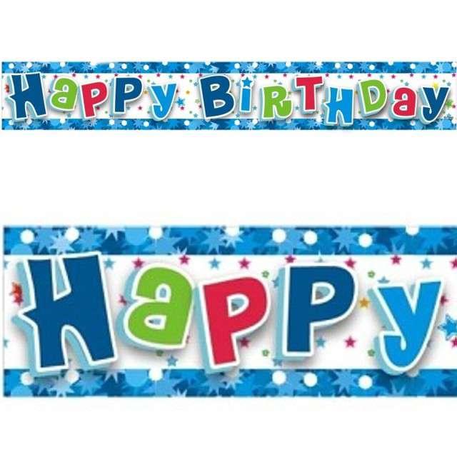 "Baner foliowy ""Happy Birthday"", niebieski, GODAN, 180 cm"