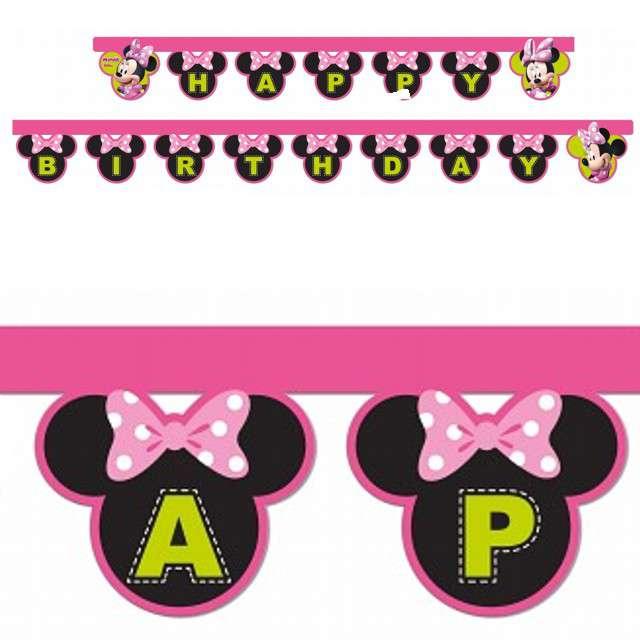 """Baner """"Happy Birthday - Myszka Minnie"""", różowy, Procos, 200 cm"""