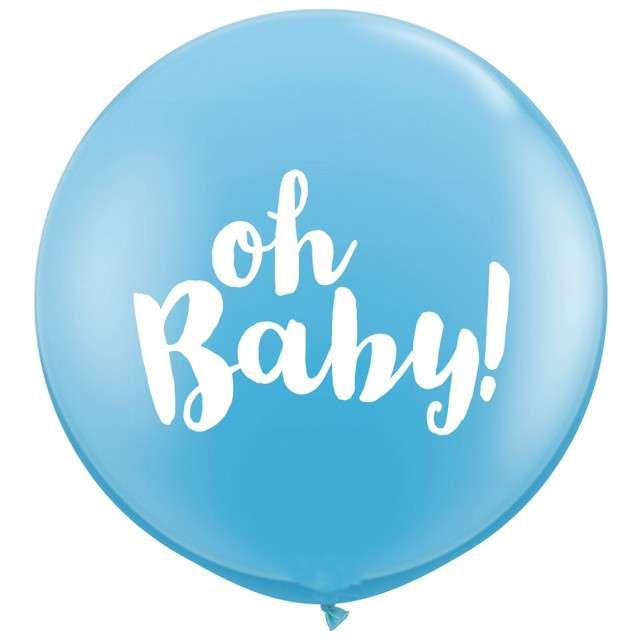 "Balony ""Oh Baby"", błękitny, Qualatex, 36"", 2 szt"