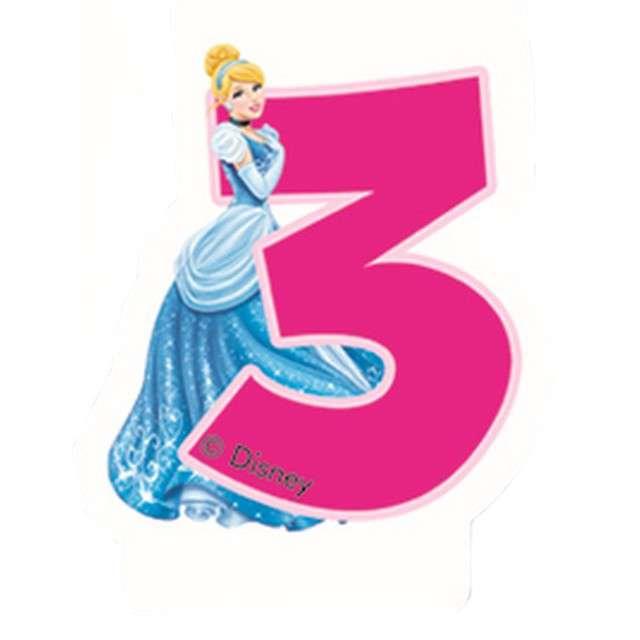 """Świeczka """"Księżniczka Disneya - Cyferka 3 Kopciuszek"""", różowa, Procos"""