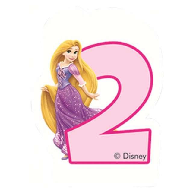 """Świeczka """"Księżniczka Disneya - Cyferka 2 Roszpunka"""", różowa, Procos"""