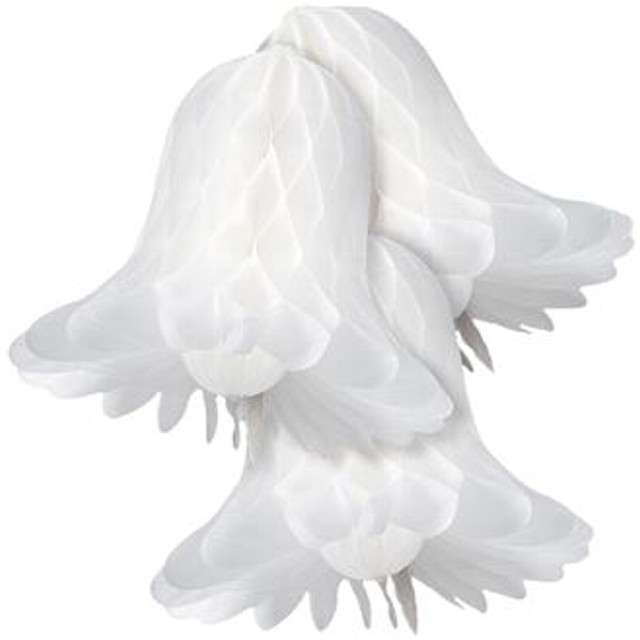 """Dekoracja """"Honeycomb Dzwonki"""", biała, Godan, 23 cm, 3 szt"""