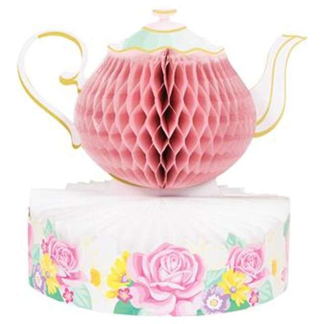 """Dekoracja """"Honeycomb Tea Party - Czajnik"""", różowa, Godan"""