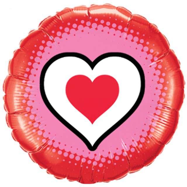 """Balon foliowy """"Serce w sercu"""", Qualatex, 18"""", RND"""