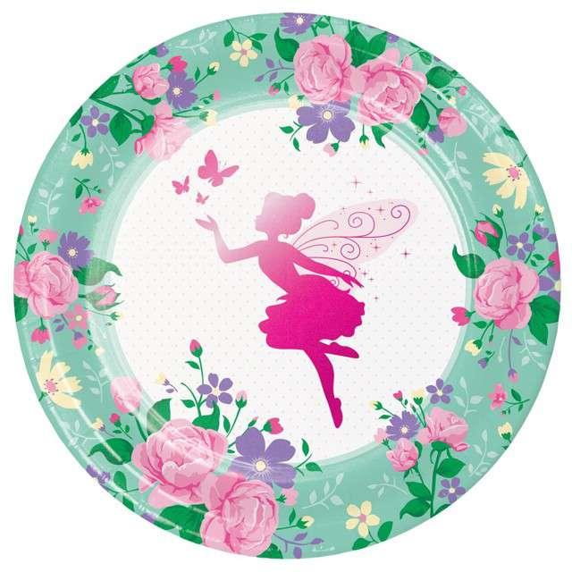 """Talerzyki papierowe """"Wróżka - Floral Fairy"""", Godan, 23 cm, 8 szt"""