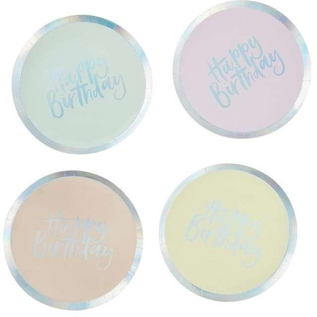 """Talerzyki papierowe """"Happy birthday"""", pastelowe, Ginger Ray, 25.5 cm, 8 szt"""