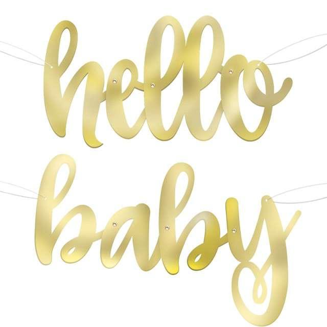 """Baner """"Hello Baby"""", złoty, Godan, 104 cm"""