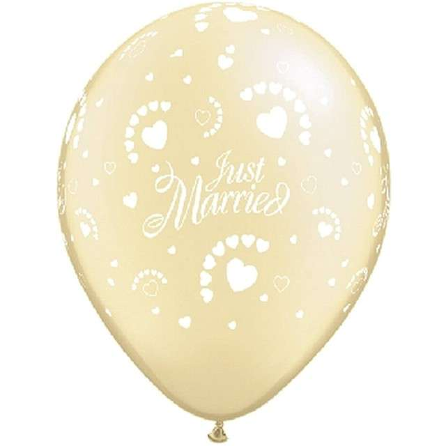 "Balony ""Just Married Hearts"", kość słoniowa metalik, Qualatex, 11"", 25 szt"