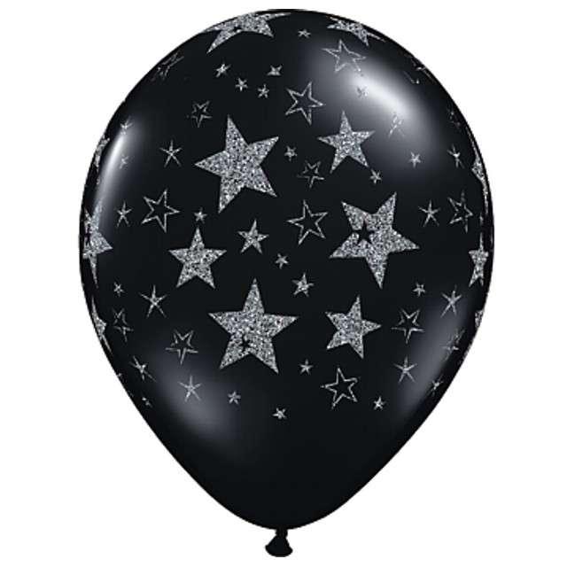"""Balony """"Srebrne gwiazdy"""", czarne, Qualatex, 11"""", 25 szt"""