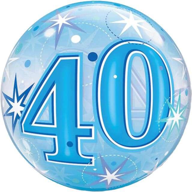 Balon foliowy 40 urodziny - gwiazdki niebieski Qualatex Bubbles 22 ORB