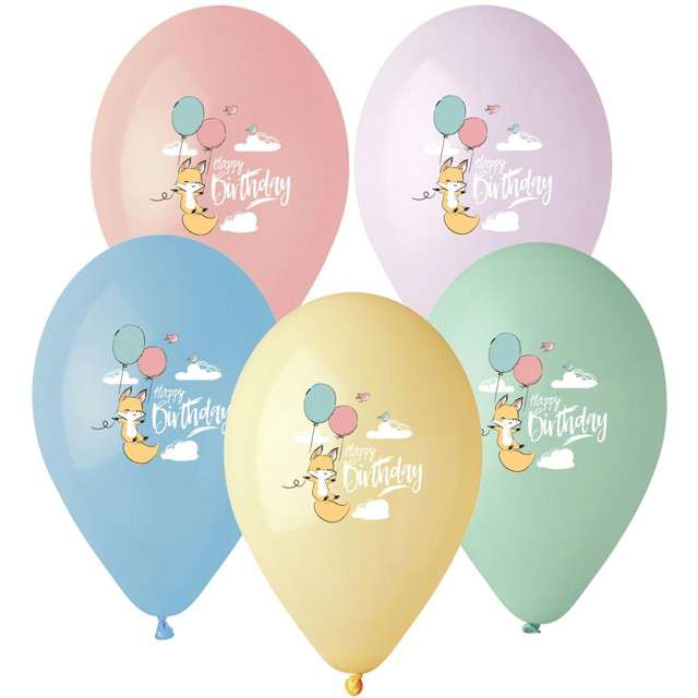 "Balony ""Happy Birthday - lisek"", 13"", Gemar, 5 szt."