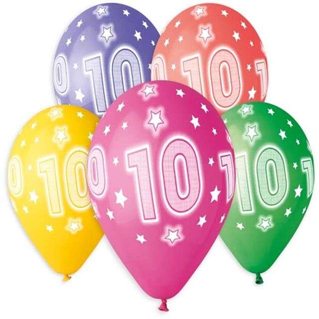 """Balony """"10 urodziny"""", 13"""", Gemar, 5 szt."""