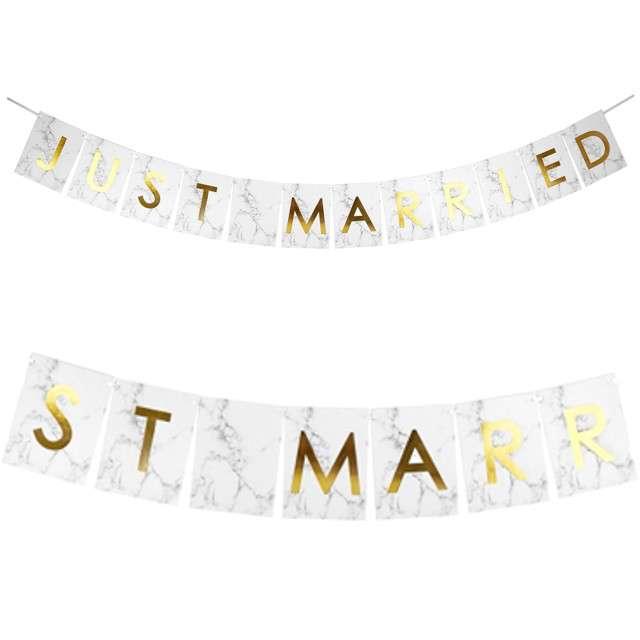 """Baner flagi """"Just Married - Nowożeńcy - Marmur"""", Godan, 250 cm"""