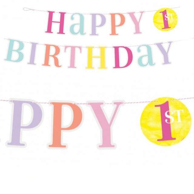"Baner ""Happy Birthday - Cyfra 1"", pastelowy mix, Unique, 182 cm"