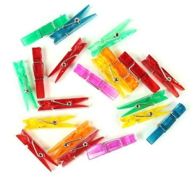 """Klamerki plastikowe """"Kolorowy MIX"""", 3,4 cm, Godan, 20 szt"""