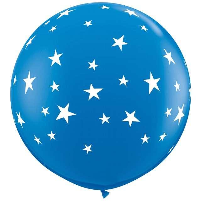 Balon Gwiazdki- Round niebieski Qualatex 36 2szt