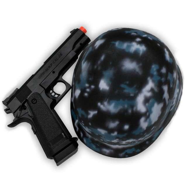 _xx_Zestaw Policyjny (kask, nóż, walki-talki, granat, kajdanki, pistolet, okulary)