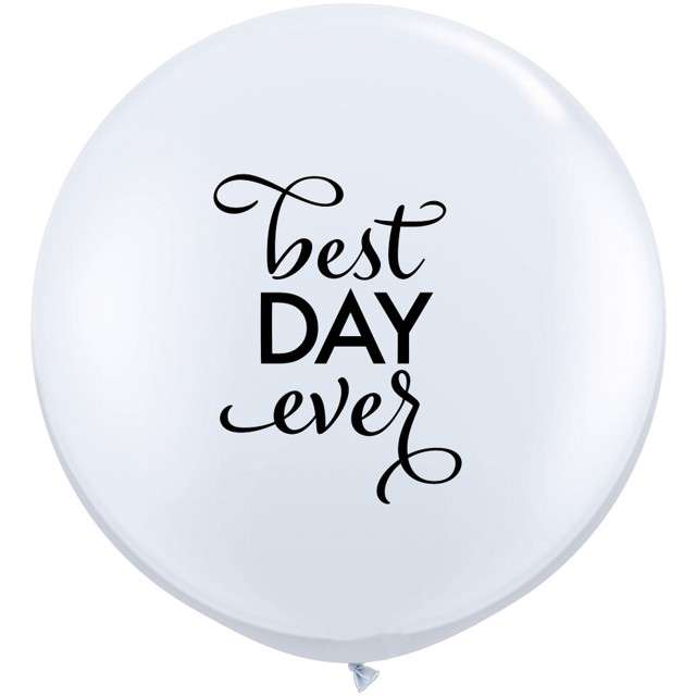 "Balon ""Best Day Ever - Round"", biały, Qualatex, 36"", 2 szt"
