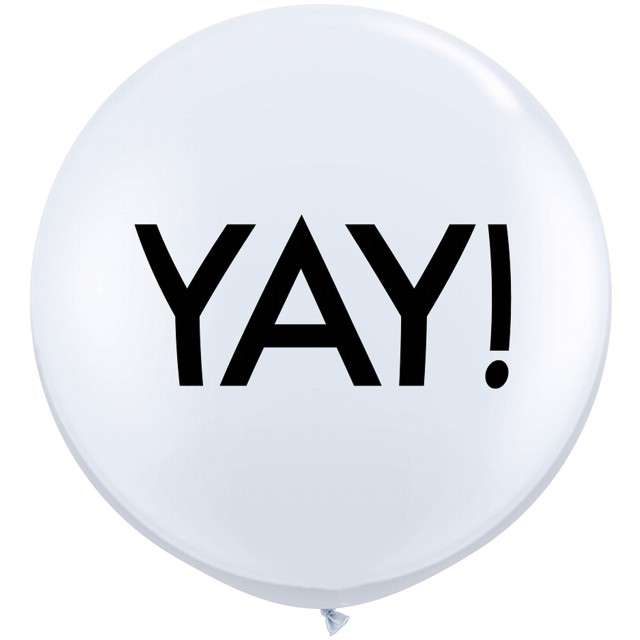 """Balony """"Yay!"""", białe, Qualatex, 36"""", 2 szt"""