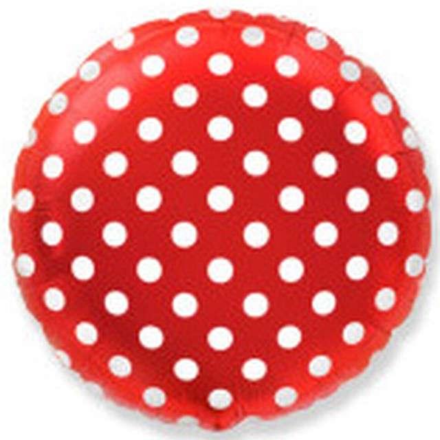 Balon foliowy Białe Grochy czerwony FLEXMETAL 18 RND