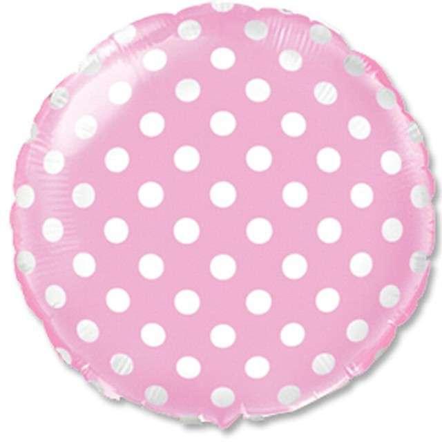 Balon foliowy Białe Grochy różowe FLEXMETAL 18 RND
