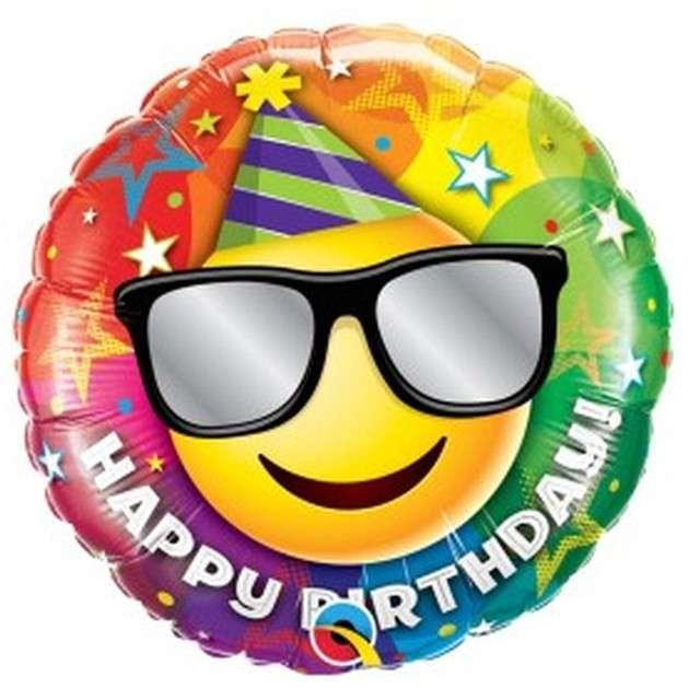 "Balon foliowy ""Happy Birthday - emotka w okularach"", Qualatex, 18"", RND"