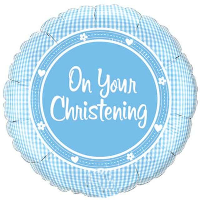 """Balon foliowy """"Chrzest"""", niebieski, Qualatex, 18"""", RND"""