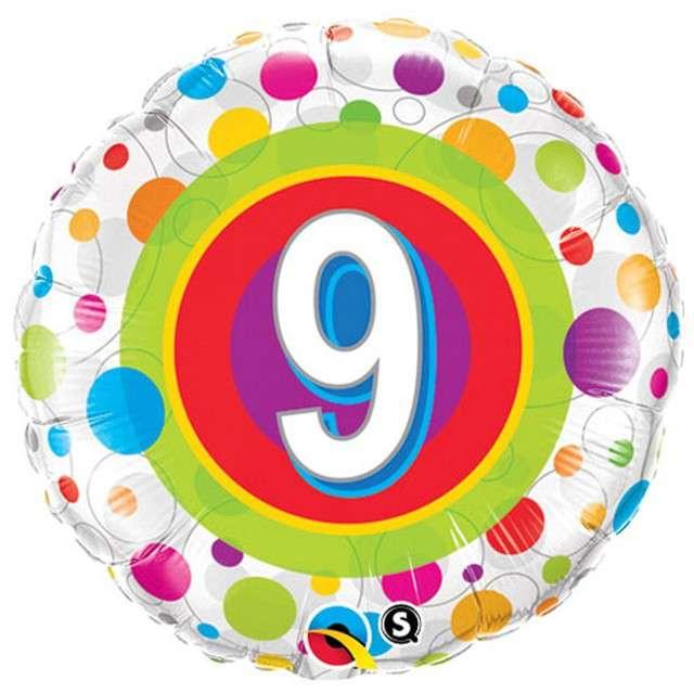 "Balon foliowy ""Kolorowa 9"", Qualatex, 18"", RND"