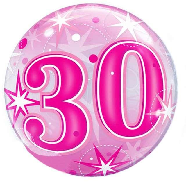 Balon foliowy 30 urodziny - gwiazdki różowy Qualatex Bubbles 22 ORB