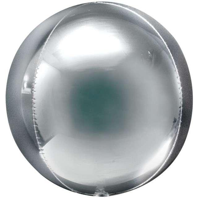 "Balon foliowy ""Kula Jumbo"", srebrny, Amscan, 21"", ORB"