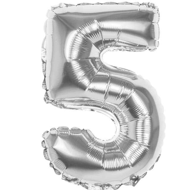 """Balon foliowy """"Cyfra 5"""", srebrny, BOLAND, 14"""""""