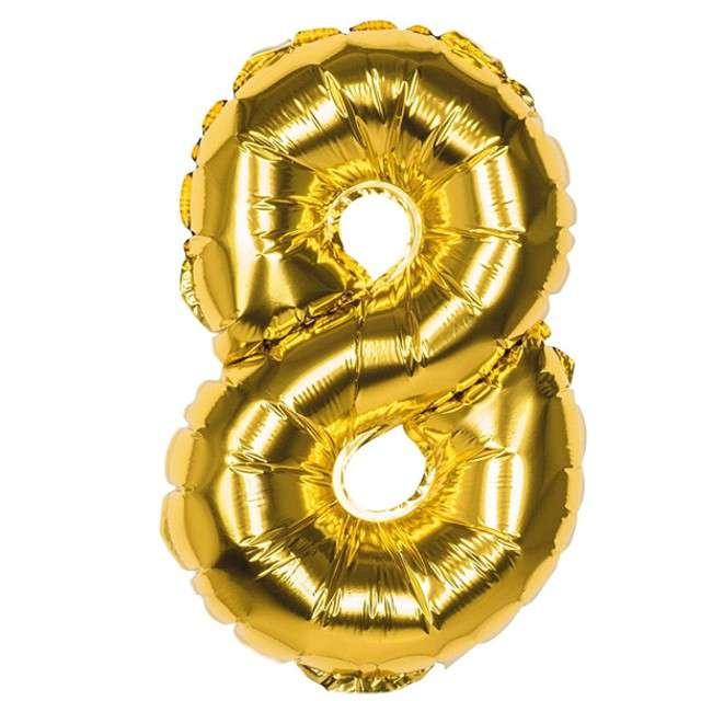 """Balon foliowy """"Cyfra 8"""", złota, Boland, 14"""""""