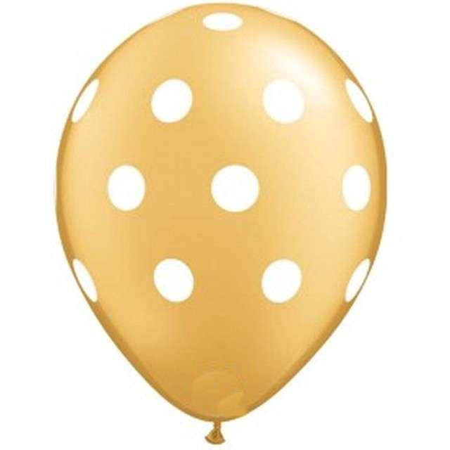 """Balony """"Groszki"""", złote, Qualatex, 11"""", 25 szt"""