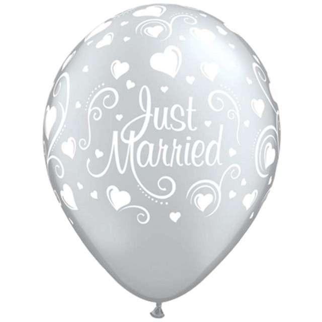"""Balony """"Just Married"""", perłowy metalik, Qualatex, 11"""", 6 szt"""