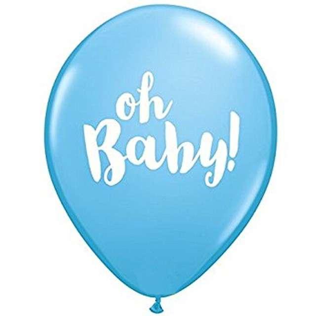 """Balony """"Oh Baby"""", niebieskie, Qualatex, 11"""", 25 szt"""