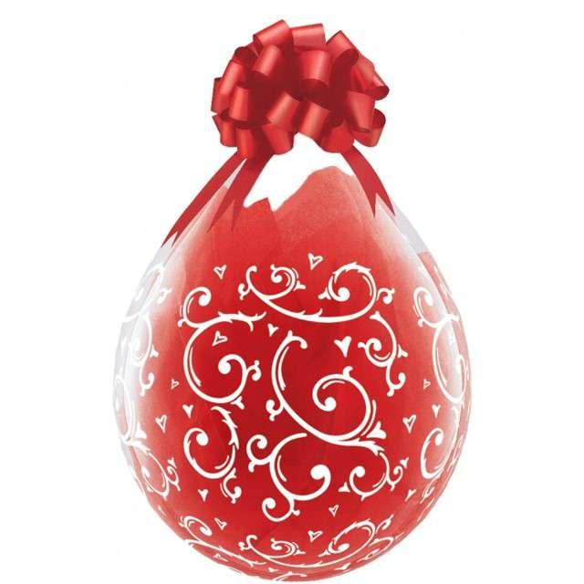 Balony Crystal - Filigranowe wzory czerwone Qualatex 18 25szt