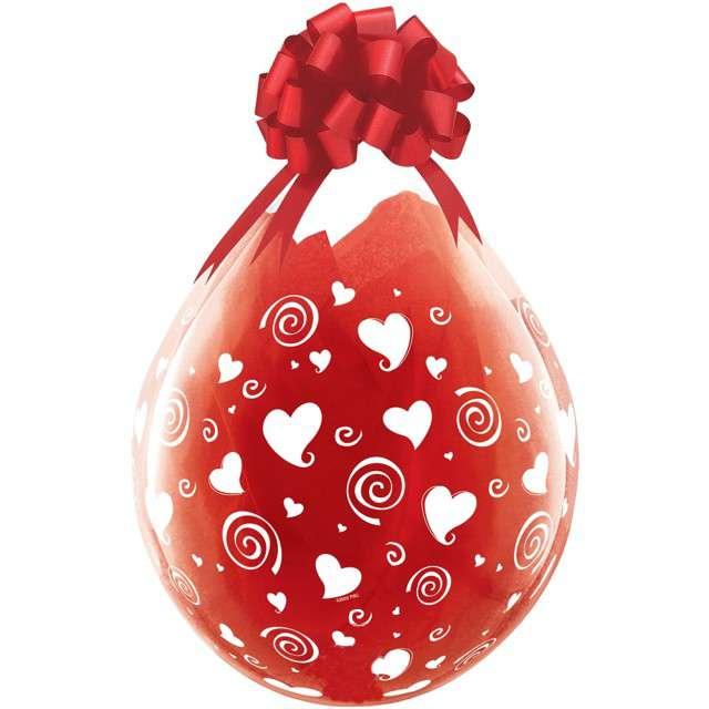 Balony Crystal - Serduszka i spirale czerwone Qualatex 18 25szt