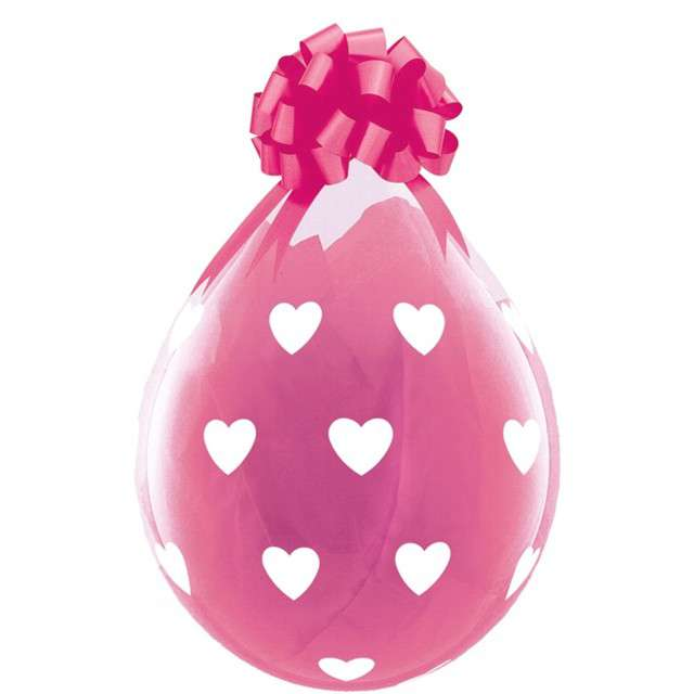 Balony Crystal - Serduszka różowe Qualatex 18 25szt