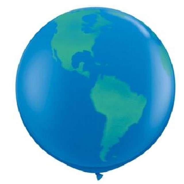 "Balon ""Kula Ziemska"", niebieski, Qualatex, 36"""