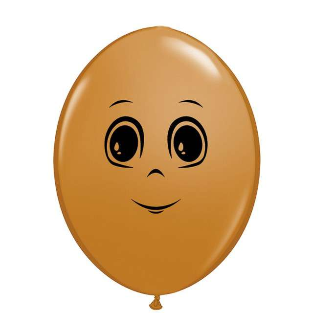Balony Twarz męska jasnobrązowy Qualatex 6 50szt.