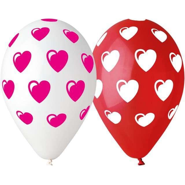 """Balony Premium """"Serduszka"""", mix czerwony, Gemar, 12 cali, 5 szt"""