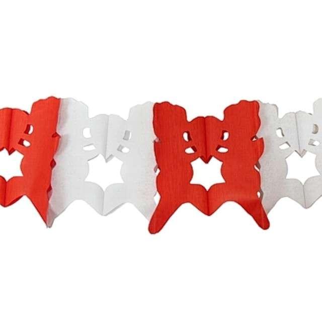 """Girlanda """"Para z Sercem"""", biało-czerwona, Godan, 400 cm"""